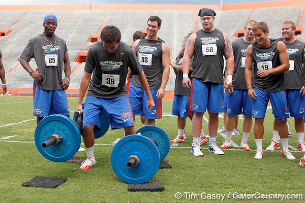 during the Gator Charity Challenge event on Friday, July 29, 2011 at Ben Hill Griffin Stadium in Gainesville, Fla. / Gator Country photo by Tim Casey