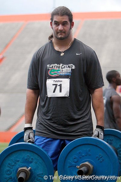 Florida redshirt junior tackle Matt Patchan competes in the torpedo hold during the Gator Charity Challenge event on Friday, July 29, 2011 at Ben Hill Griffin Stadium in Gainesville, Fla. / Gator Country photo by Tim Casey