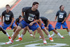 Florida redshirt senior quarterback John Brantley stretches during the Gator Charity Challenge event on Friday, July 29, 2011 at Ben Hill Griffin Stadium in Gainesville, Fla. / Gator Country photo by Tim Casey