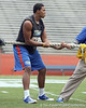 Florida redshirt sophomore tight end Jordan Reed prepares for the tug of war during the Gator Charity Challenge event on Friday, July 29, 2011 at Ben Hill Griffin Stadium in Gainesville, Fla. / Gator Country photo by Tim Casey