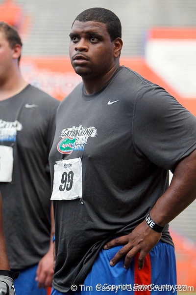 Florida redshirt junior nose tackle Omar Hunter looks on during the Gator Charity Challenge event on Friday, July 29, 2011 at Ben Hill Griffin Stadium in Gainesville, Fla. / Gator Country photo by Tim Casey