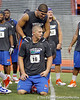 Florida sophomore running back Trey Burton encourages freshman quarterback Jeff Driskel during the Gator Charity Challenge event on Friday, July 29, 2011 at Ben Hill Griffin Stadium in Gainesville, Fla. / Gator Country photo by Tim Casey