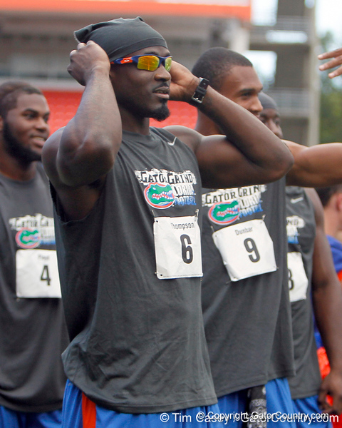 Florida redshirt senior receiver Deonte Thompson prepares for the tug of war during the Gator Charity Challenge event on Friday, July 29, 2011 at Ben Hill Griffin Stadium in Gainesville, Fla. / Gator Country photo by Tim Casey
