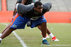 Florida sophomore defensive tackle Dominique Easley stretches during the Gator Charity Challenge event on Friday, July 29, 2011 at Ben Hill Griffin Stadium in Gainesville, Fla. / Gator Country photo by Tim Casey
