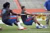 Florida sophomore linebacker/defensive end Ronald Powell and redshirt sophomore tight end Jordan Reed compete in the tug of war during the Gator Charity Challenge event on Friday, July 29, 2011 at Ben Hill Griffin Stadium in Gainesville, Fla. / Gator Country photo by Tim Casey