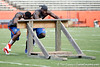 Florida redshirt junior receiver Omarius Hines pushes the sled during the Gator Charity Challenge event on Friday, July 29, 2011 at Ben Hill Griffin Stadium in Gainesville, Fla. / Gator Country photo by Tim Casey