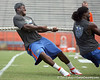 Florida sophomore linebacker Gerald Christian pulls on the rope in the tug of war during the Gator Charity Challenge event on Friday, July 29, 2011 at Ben Hill Griffin Stadium in Gainesville, Fla. / Gator Country photo by Tim Casey