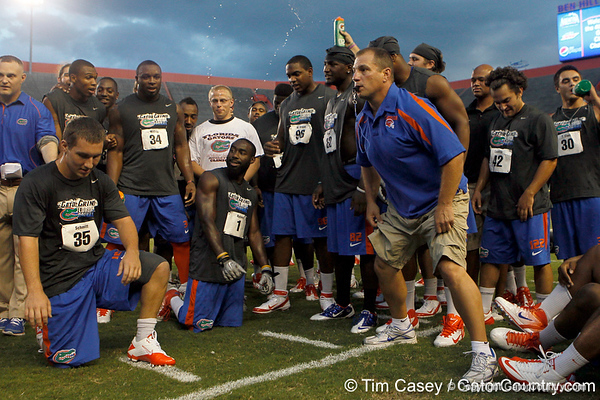 Florida director of strength and conditioning Mickey Marotti prepares to blow his whistle during the Gator Charity Challenge event on Friday, July 29, 2011 at Ben Hill Griffin Stadium in Gainesville, Fla. / Gator Country photo by Tim Casey