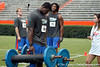 Florida freshman defensive tackle Leon Orr competes in the torpedo hold during the Gator Charity Challenge event on Friday, July 29, 2011 at Ben Hill Griffin Stadium in Gainesville, Fla. / Gator Country photo by Tim Casey