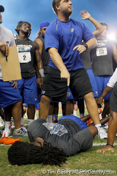 Florida redshirt senior cornerback Moses Jenkins is eliminated from the push-up competition during the Gator Charity Challenge event on Friday, July 29, 2011 at Ben Hill Griffin Stadium in Gainesville, Fla. / Gator Country photo by Tim Casey