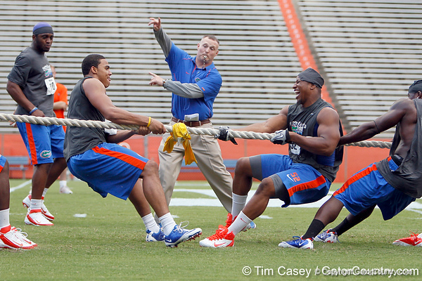 Florida redshirt sophomore tight end Jordan Reed wins the tug of war against Jonathan Bostic's team during the Gator Charity Challenge event on Friday, July 29, 2011 at Ben Hill Griffin Stadium in Gainesville, Fla. / Gator Country photo by Tim Casey