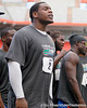 Florida sophomore defensive tackle Dominique Easley encourages his teammates during the Gator Charity Challenge event on Friday, July 29, 2011 at Ben Hill Griffin Stadium in Gainesville, Fla. / Gator Country photo by Tim Casey