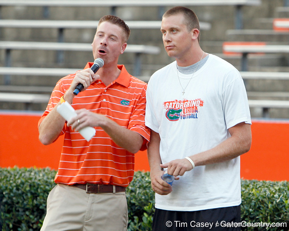 Jeff Cardozo interviews Florida senior pitcher Greg Larson during the Gator Charity Challenge event on Friday, July 29, 2011 at Ben Hill Griffin Stadium in Gainesville, Fla. / Gator Country photo by Tim Casey