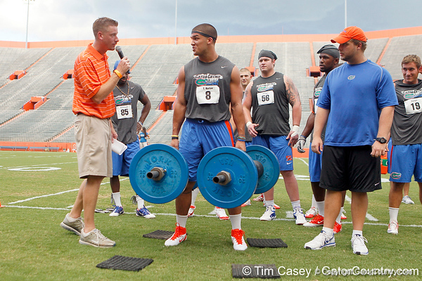 Florida sophomore running back Trey Burton competes in the torpedo hold during the Gator Charity Challenge event on Friday, July 29, 2011 at Ben Hill Griffin Stadium in Gainesville, Fla. / Gator Country photo by Tim Casey
