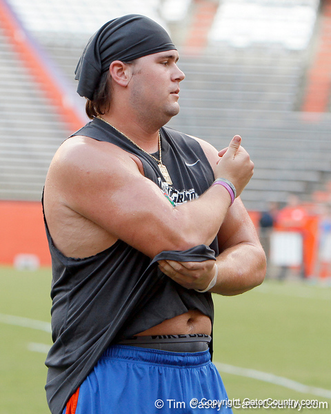 Florida redshirt junior center Sam Robey prepares for an event during the Gator Charity Challenge event on Friday, July 29, 2011 at Ben Hill Griffin Stadium in Gainesville, Fla. / Gator Country photo by Tim Casey