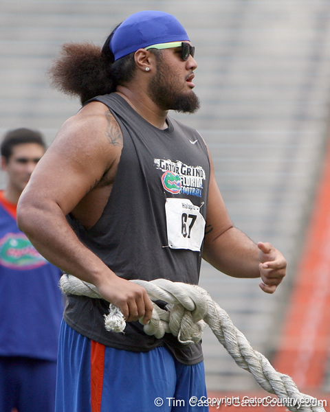 Florida redshirt sophomore tackle/guard Jon Halapio prepares for the tug of war during the Gator Charity Challenge event on Friday, July 29, 2011 at Ben Hill Griffin Stadium in Gainesville, Fla. / Gator Country photo by Tim Casey