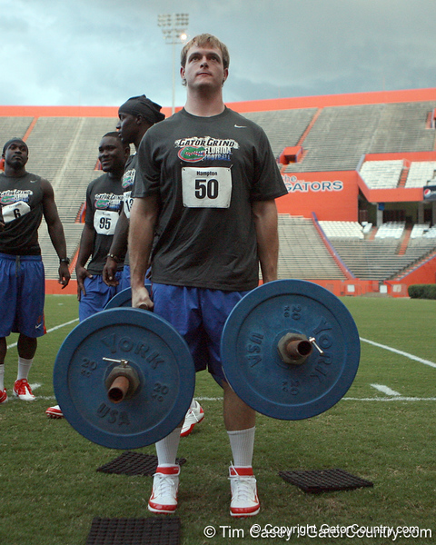 Florida senior longsnapper Cody Hampton competes in the torpedo hold during the Gator Charity Challenge event on Friday, July 29, 2011 at Ben Hill Griffin Stadium in Gainesville, Fla. / Gator Country photo by Tim Casey