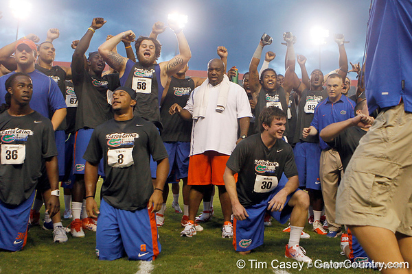 Florida redshirt sophomore center Nick Alajajian cheers during the Gator Charity Challenge event on Friday, July 29, 2011 at Ben Hill Griffin Stadium in Gainesville, Fla. / Gator Country photo by Tim Casey