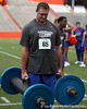 Florida freshman Tommy Jordan competes in the torpedo hold during the Gator Charity Challenge event on Friday, July 29, 2011 at Ben Hill Griffin Stadium in Gainesville, Fla. / Gator Country photo by Tim Casey
