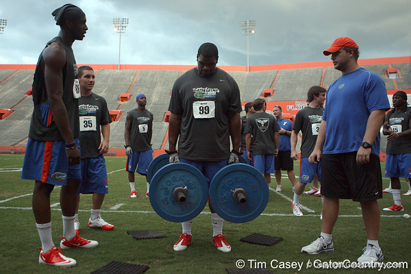 Florida redshirt junior nose tackle Omar Hunter competes in the torpedo hold during the Gator Charity Challenge event on Friday, July 29, 2011 at Ben Hill Griffin Stadium in Gainesville, Fla. / Gator Country photo by Tim Casey