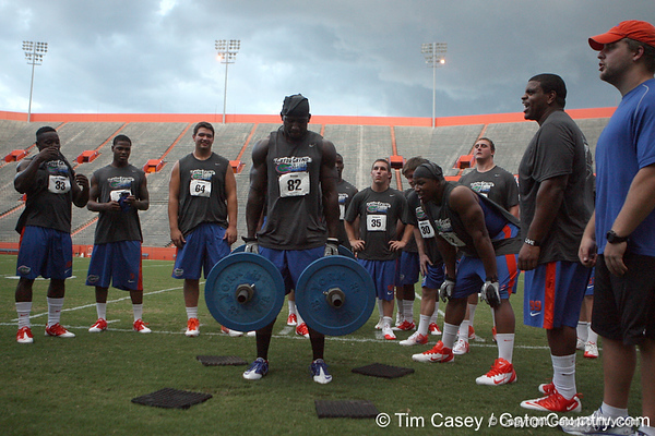 Florida redshirt junior receiver Omarius Hines competes in the torpedo hold during the Gator Charity Challenge event on Friday, July 29, 2011 at Ben Hill Griffin Stadium in Gainesville, Fla. / Gator Country photo by Tim Casey