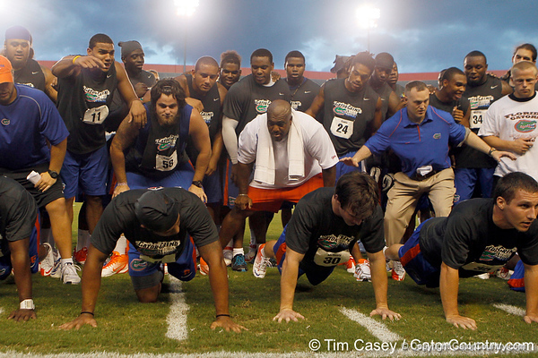Florida redshirt sophomore tight end Jordan Reed and redshirt sophomore center Nick Alajajian cheer during the Gator Charity Challenge event on Friday, July 29, 2011 at Ben Hill Griffin Stadium in Gainesville, Fla. / Gator Country photo by Tim Casey