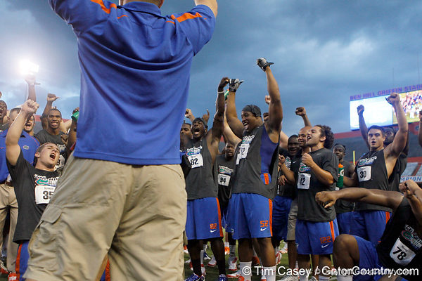 Florida junior linebacker Jonathan Bostic cheers during the Gator Charity Challenge event on Friday, July 29, 2011 at Ben Hill Griffin Stadium in Gainesville, Fla. / Gator Country photo by Tim Casey