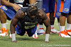 Florida senior running back Jeff Demps does a push-up during the Gator Charity Challenge event on Friday, July 29, 2011 at Ben Hill Griffin Stadium in Gainesville, Fla. / Gator Country photo by Tim Casey