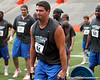 Florida redshirt sophomore tackle Kyle Koehne competes in the torpedo hold during the Gator Charity Challenge event on Friday, July 29, 2011 at Ben Hill Griffin Stadium in Gainesville, Fla. / Gator Country photo by Tim Casey