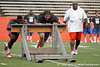 Florida freshman tight end A.C. Leonard and freshman Trip Thurman push the sled during the Gator Charity Challenge event on Friday, July 29, 2011 at Ben Hill Griffin Stadium in Gainesville, Fla. / Gator Country photo by Tim Casey