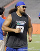 Florida redshirt sophomore tackle/guard Jon Halapio celebrates when his team is announced as a finalist during the Gator Charity Challenge event on Friday, July 29, 2011 at Ben Hill Griffin Stadium in Gainesville, Fla. / Gator Country photo by Tim Casey
