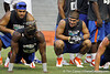 Florida sophomore running back Trey Burton encourages teammates during the Gator Charity Challenge event on Friday, July 29, 2011 at Ben Hill Griffin Stadium in Gainesville, Fla. / Gator Country photo by Tim Casey