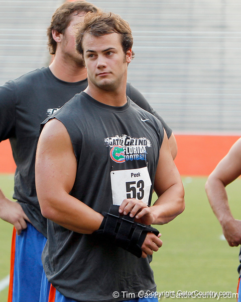 Florida redshirt junior linebacker Scott Peek prepares for an event during the Gator Charity Challenge event on Friday, July 29, 2011 at Ben Hill Griffin Stadium in Gainesville, Fla. / Gator Country photo by Tim Casey
