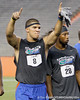 Florida sophomore running back Trey Burton celebrates when his team is announced as a finalist during the Gator Charity Challenge event on Friday, July 29, 2011 at Ben Hill Griffin Stadium in Gainesville, Fla. / Gator Country photo by Tim Casey