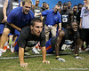 Florida sophomore fullback Jesse Schmitt competes in a pushup contest during the Gator Charity Challenge event on Friday, July 29, 2011 at Ben Hill Griffin Stadium in Gainesville, Fla. / Gator Country photo by Tim Casey
