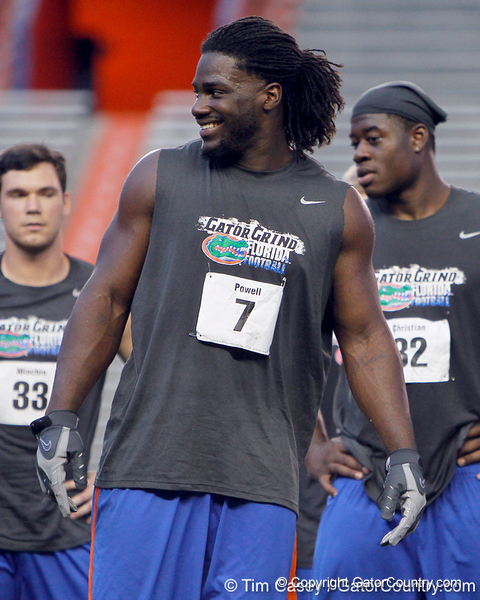 Florida sophomore linebacker/defensive end Ronald Powell laughs during the Gator Charity Challenge event on Friday, July 29, 2011 at Ben Hill Griffin Stadium in Gainesville, Fla. / Gator Country photo by Tim Casey
