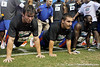 Florida freshman receiver Michael McNeely and sophomore fullback Jesse Schmitt do push-ups during the Gator Charity Challenge event on Friday, July 29, 2011 at Ben Hill Griffin Stadium in Gainesville, Fla. / Gator Country photo by Tim Casey