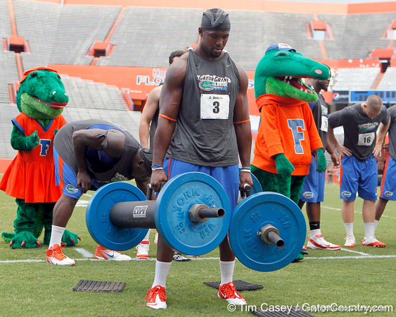 Florida redshirt sophomore linebacker Jelani Jenkins competes in the torpedo hold during the Gator Charity Challenge event on Friday, July 29, 2011 at Ben Hill Griffin Stadium in Gainesville, Fla. / Gator Country photo by Tim Casey