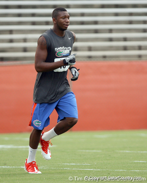 Florida freshman cornerback Loucheiz Purifoy runs across the field during the Gator Charity Challenge event on Friday, July 29, 2011 at Ben Hill Griffin Stadium in Gainesville, Fla. / Gator Country photo by Tim Casey