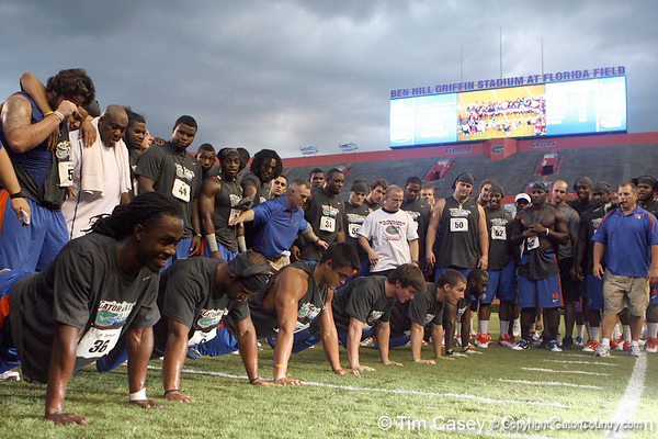 Florida redshirt senior cornerback Moses Jenkins does push-ups during the Gator Charity Challenge event on Friday, July 29, 2011 at Ben Hill Griffin Stadium in Gainesville, Fla. / Gator Country photo by Tim Casey