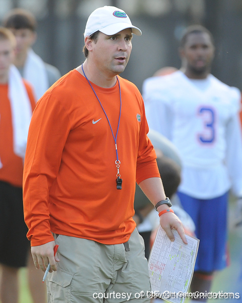 Florida head coach Will Muschamp oversees workouts during the Gators' football practice on Saturday, August 6, 2011 at Donald R. Dizney Stadium in Gainesville, Fla. / photo courtesy of UF Communications