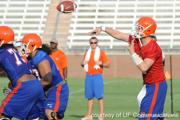 Florida redshirt senior quarterback John Brantley passes during the Gators' football practice on Saturday, August 6, 2011 at Donald R. Dizney Stadium in Gainesville, Fla. / photo courtesy of UF Communications