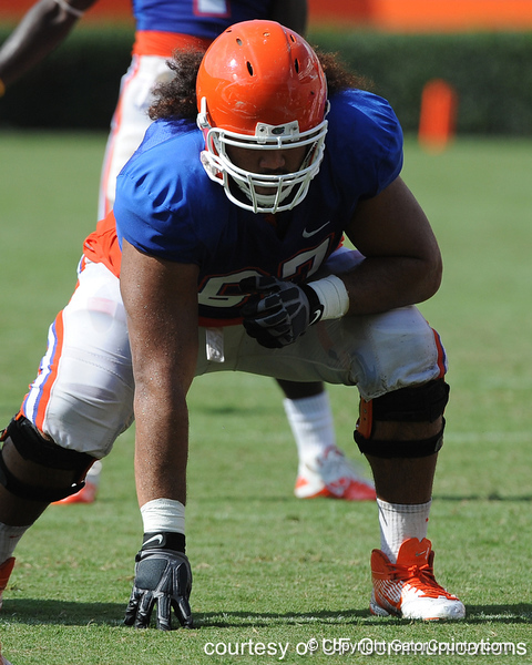 Florida redshirt sophomore tackle/guard Jon Halapio lines up during the Gators' scrimmage on Monday, August 15, 2011 at Ben Hill Griffin Stadium in Gainesville, Fla. / photo courtesy of UF Communications
