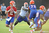 Florida redshirt senior quarterback John Brantley drops back to pass during the Gators' football practice on Saturday, August 6, 2011 at Donald R. Dizney Stadium in Gainesville, Fla. / photo courtesy of UF Communications