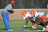 Florida defensive backs coach Travaris Robinson conducts a drill during the Gators' football practice on Saturday, August 6, 2011 at Donald R. Dizney Stadium in Gainesville, Fla. / photo courtesy of UF Communications
