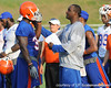 Florida sophomore tight end Gerald Christian talks with tight ends coach Derek Lewis during the Gators' football practice on Saturday, August 6, 2011 at Donald R. Dizney Stadium in Gainesville, Fla. / photo courtesy of UF Communications