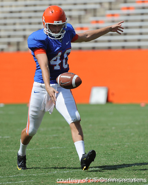 Florida senior punter David Lerner kicks the ball during the Gators' scrimmage on Monday, August 15, 2011 at Ben Hill Griffin Stadium in Gainesville, Fla. / photo courtesy of UF Communications