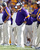 LSU coach Les Miles watches from the sideline during the second quarter of the Gators' 41-11 loss to the LSU Tigers on Saturday, October 8, 2011 at Tiger Stadium in Baton Rouge, La. / Gator Country photo by Tim Casey