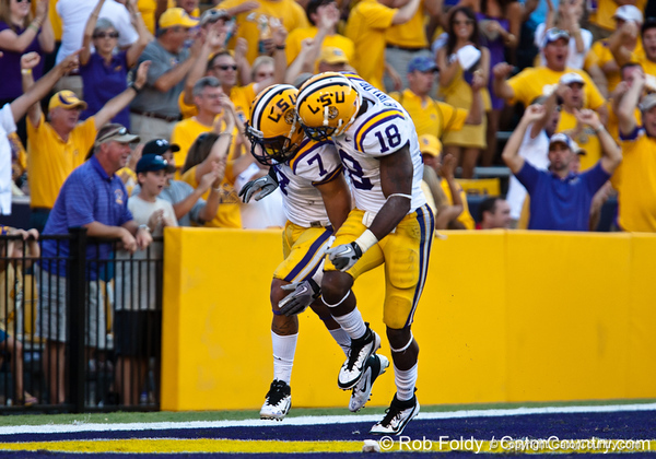 LSU cornerback Tyrann Mathieu and safety Brandon Taylor celebrate after an interception during the Gators' 41-11 loss to the LSU Tigers on Saturday, October 8, 2011 at Tiger Stadium in Baton Rouge, La. / Gator Country photo by Rob Foldy