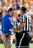 Florida head coach Will Muschamp discusses a call with a referee during the Gators' 41-11 loss to the LSU Tigers on Saturday, October 8, 2011 at Tiger Stadium in Baton Rouge, La. / Gator Country photo by Rob Foldy